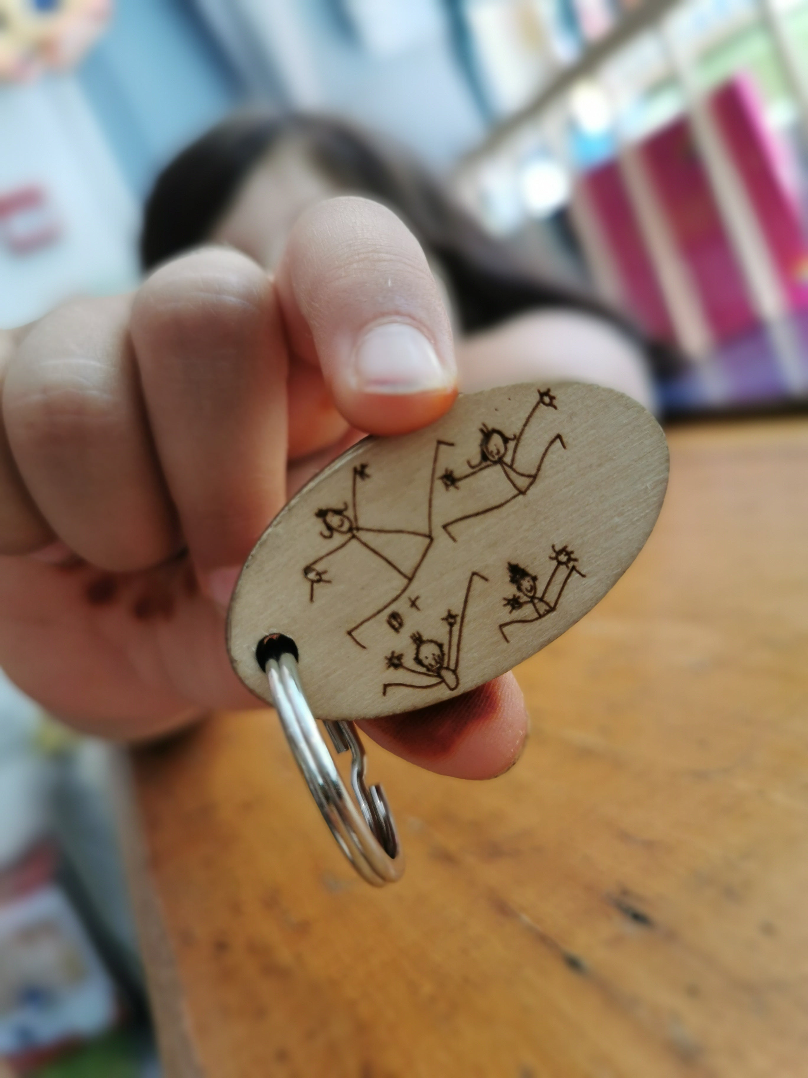 Wooden Keyring Personalised With Child's Artwork - Moo Like a Monkey