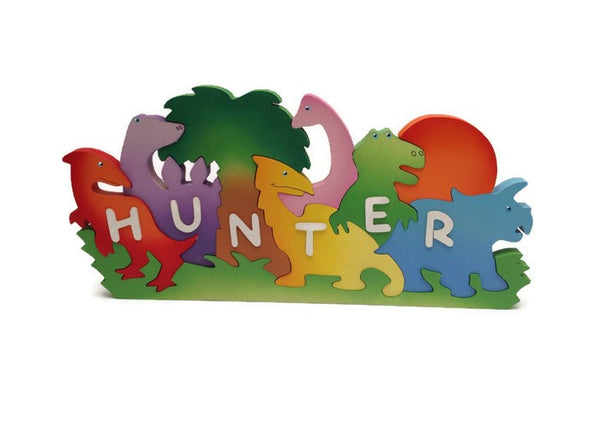 Large Dinosaur, personalised, educational name puzzle