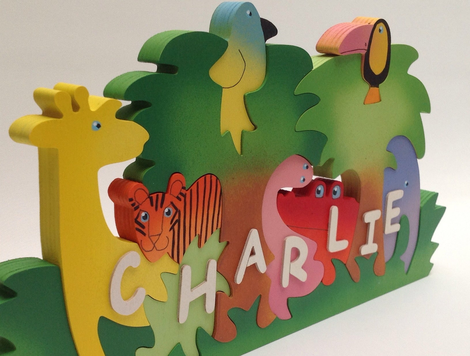 Large jungle, personalised, educational name puzzle - Moo Like a Monkey