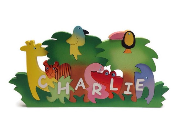 Large jungle, personalised, educational name puzzle