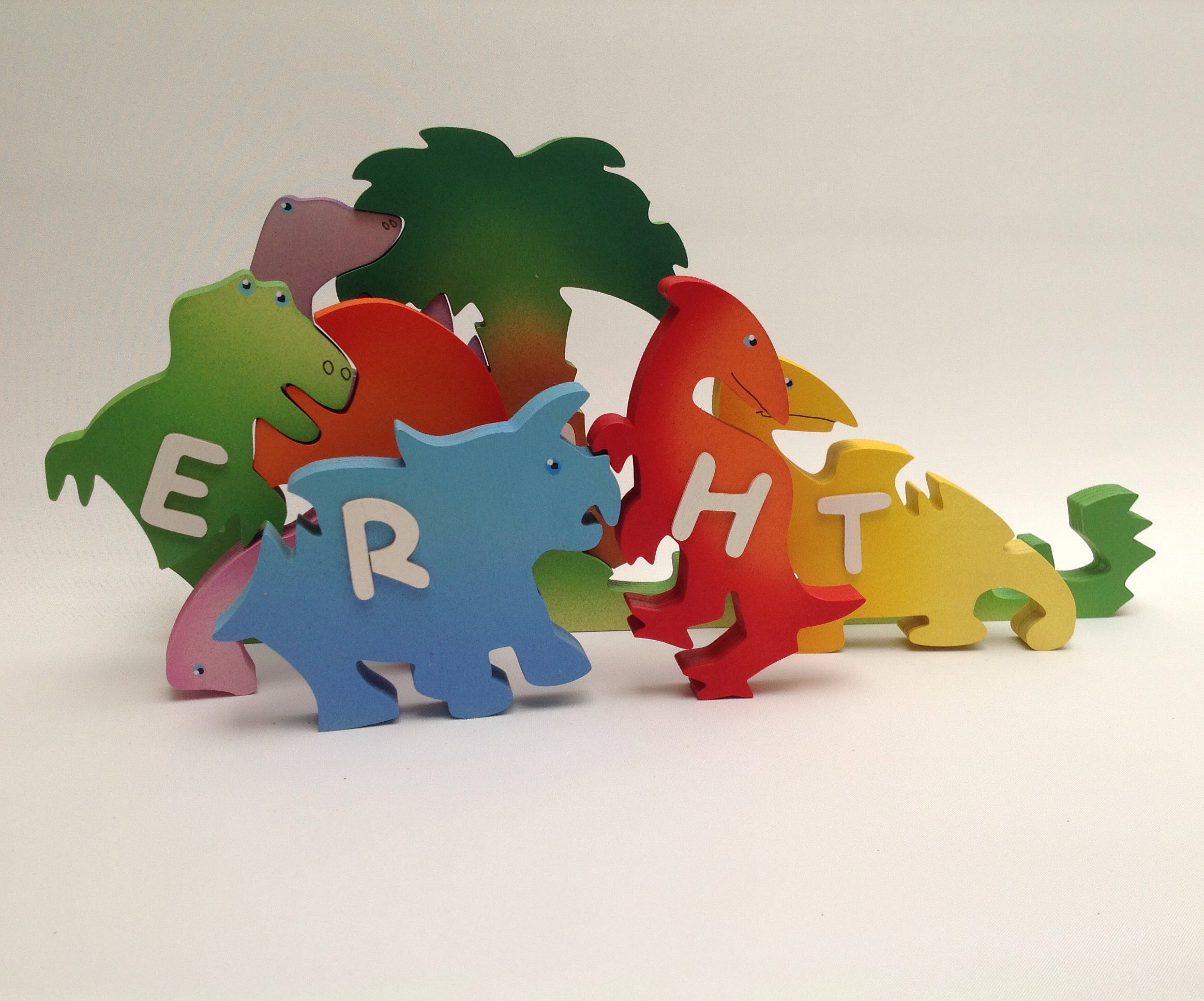 Large Dinosaur, personalised, educational name puzzle - Moo Like a Monkey