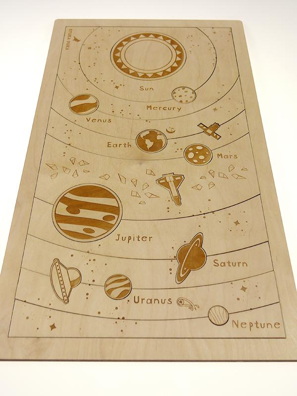 Planets 2-layer wooden puzzle - Moo Like a Monkey