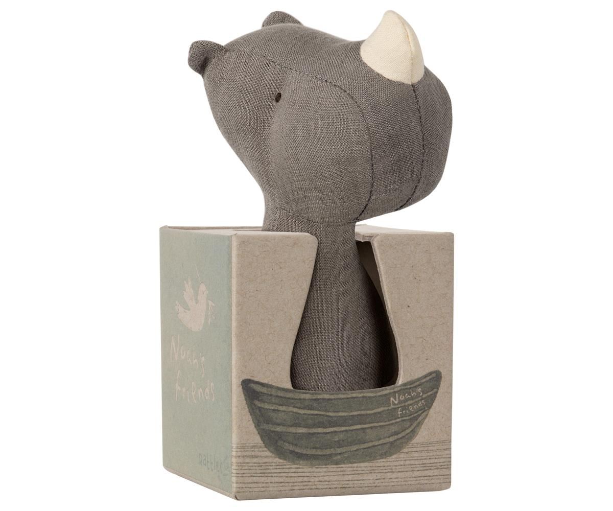 Linen Rhino Rattle - Moo Like a Monkey