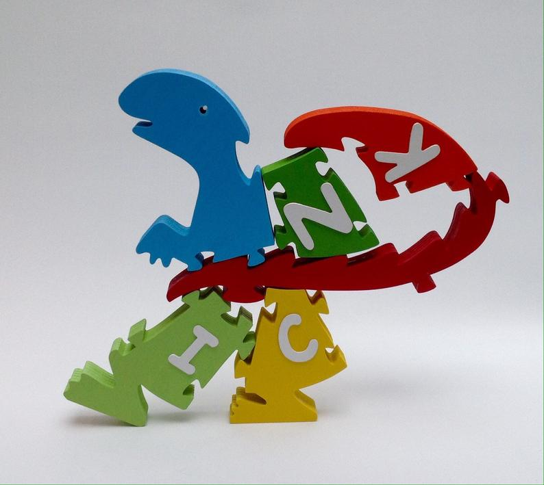 T-Rex Dinosaur, personalised, educational name puzzle - Moo Like a Monkey
