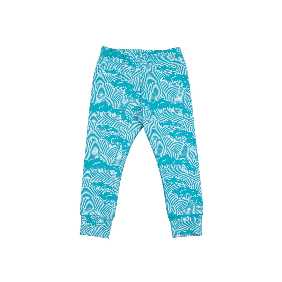 Turquoise Wave Leggings - Moo Like a Monkey
