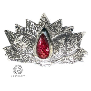 original art jewelry etched sterling silver with ruby