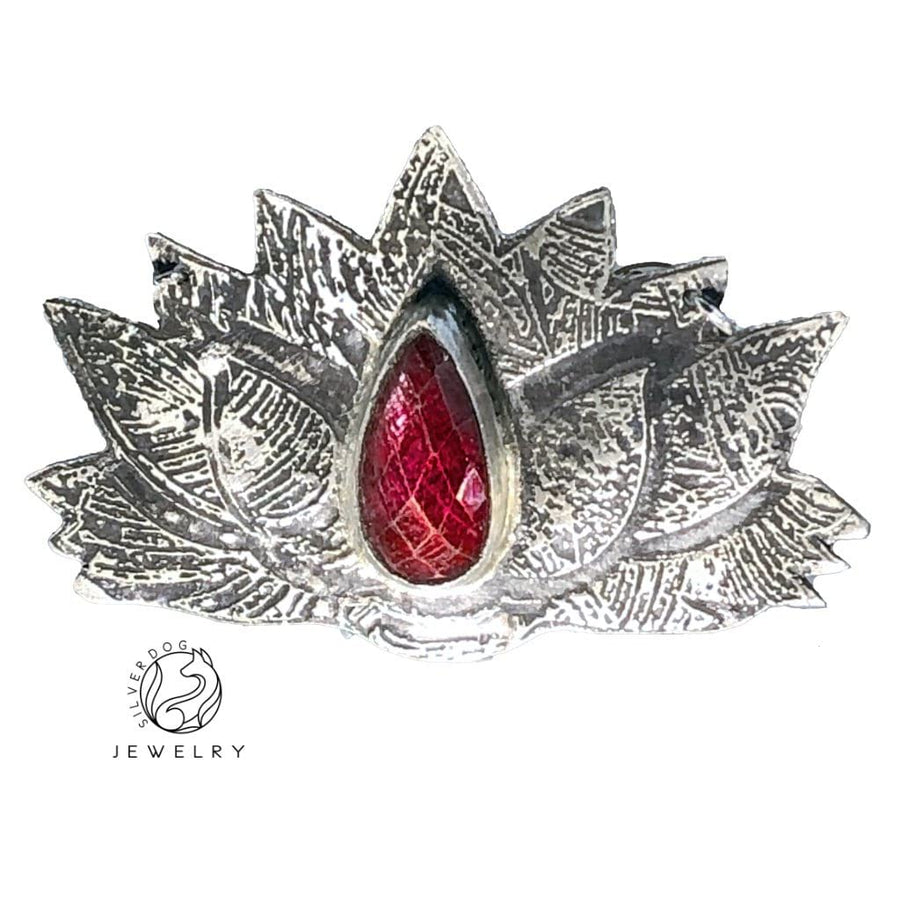 etched sterling silver ruby pendant, original art jewelry