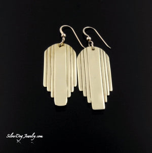 Brass layered art deco earrings with gold-filled beaded ear wires