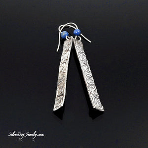 Fine silver heiroglyph earrings with blue sodalite beaded silver ear wires