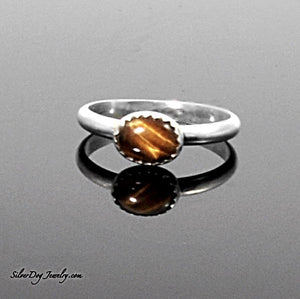 Silver Stackers:  Oval Tigers Eye