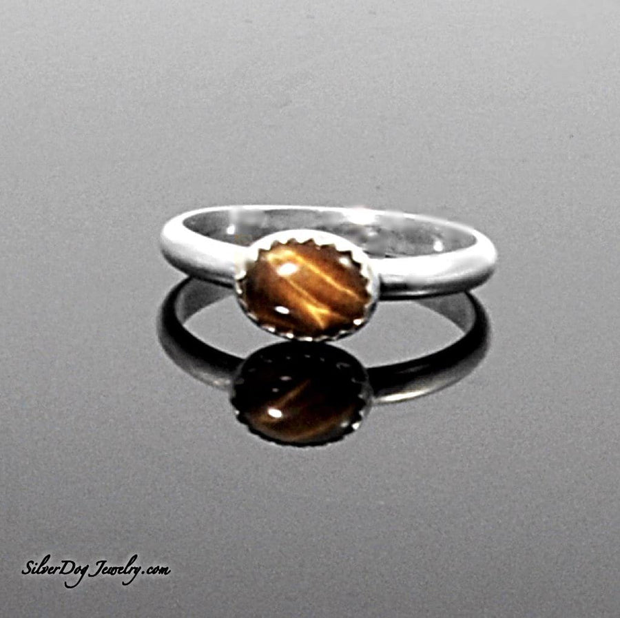 Silver Stackers:  Oval Tigers Eye | SilverDog Jewelry