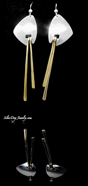 Sterling silver triangles with brass dangles, long and lean profile, sterling beaded ear wires