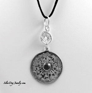 Sterling silver etched dandelion pendant with rainbow obsidian centerpiece.