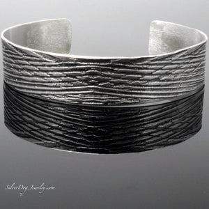 Sterling Silver Etched Palm Frond Cuff Bracelet at silverdogjewelry.com