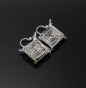 Sterling silver wire god's eye earrings with silver beaded ear wires