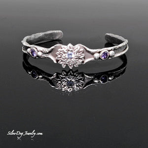 Sterling Silver Metal Clay Flower Rolled Cuff Bracelet w/2 purple, 1 brilliant cubic zirconia