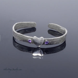 sterling silver metal clay love heart cuff bracelet