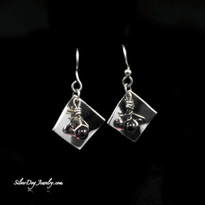 Sterling silver dangling garnet beads, formed square, sterling beaded ear wires