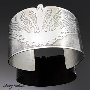 Sterling Silver Butterfly statement cuff bracelet, etched, patina