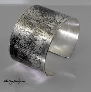 Sterling silver cuff bracelet, etched reflection of grass at silverdogjewelry.com