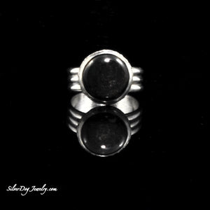 Triple shank sterling silver rainbow obsidian ring with textured bezel at silverdogjewelry.com