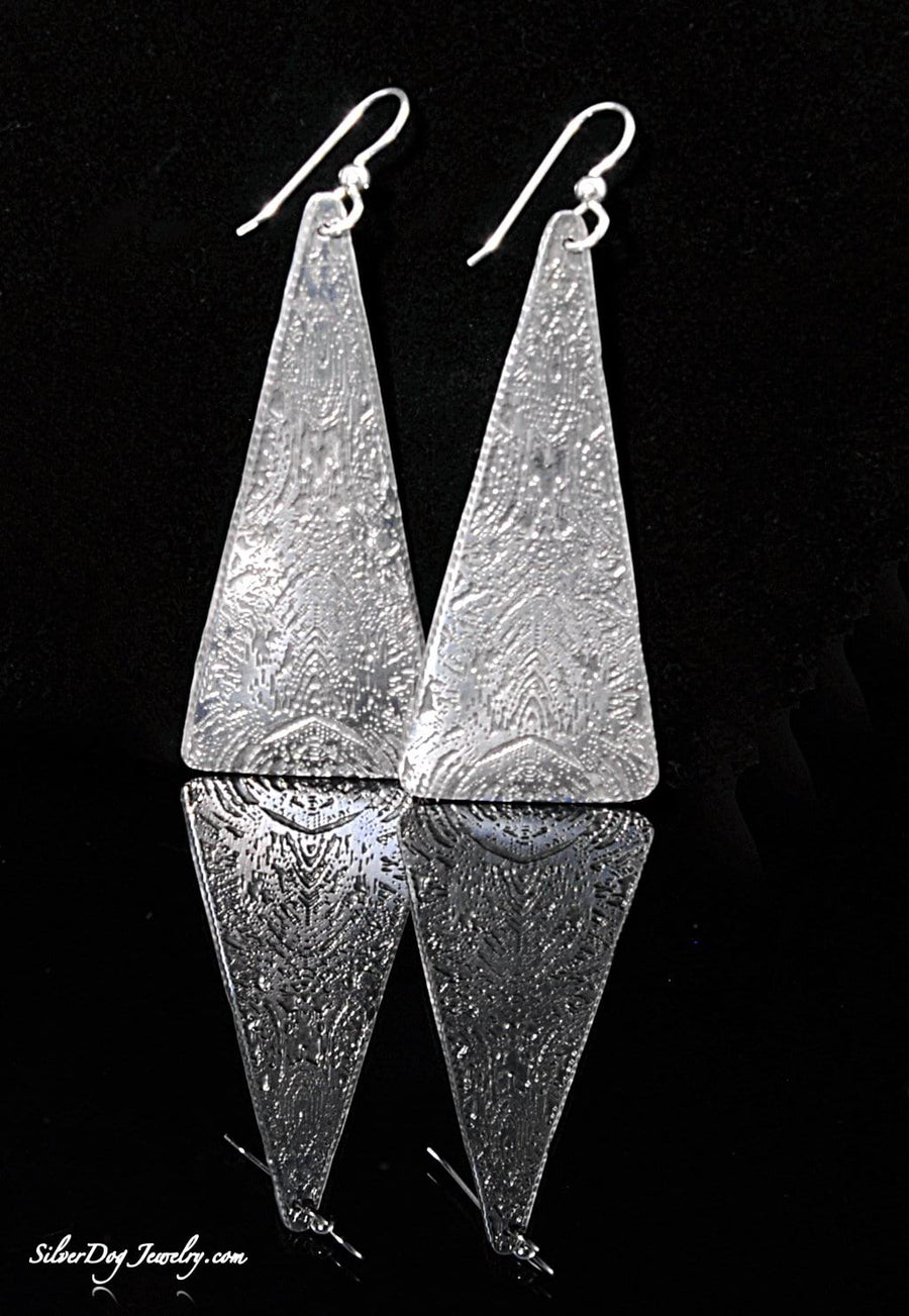 sterling silver etched window reflection triangular earrings with beaded sterling silver ear wire
