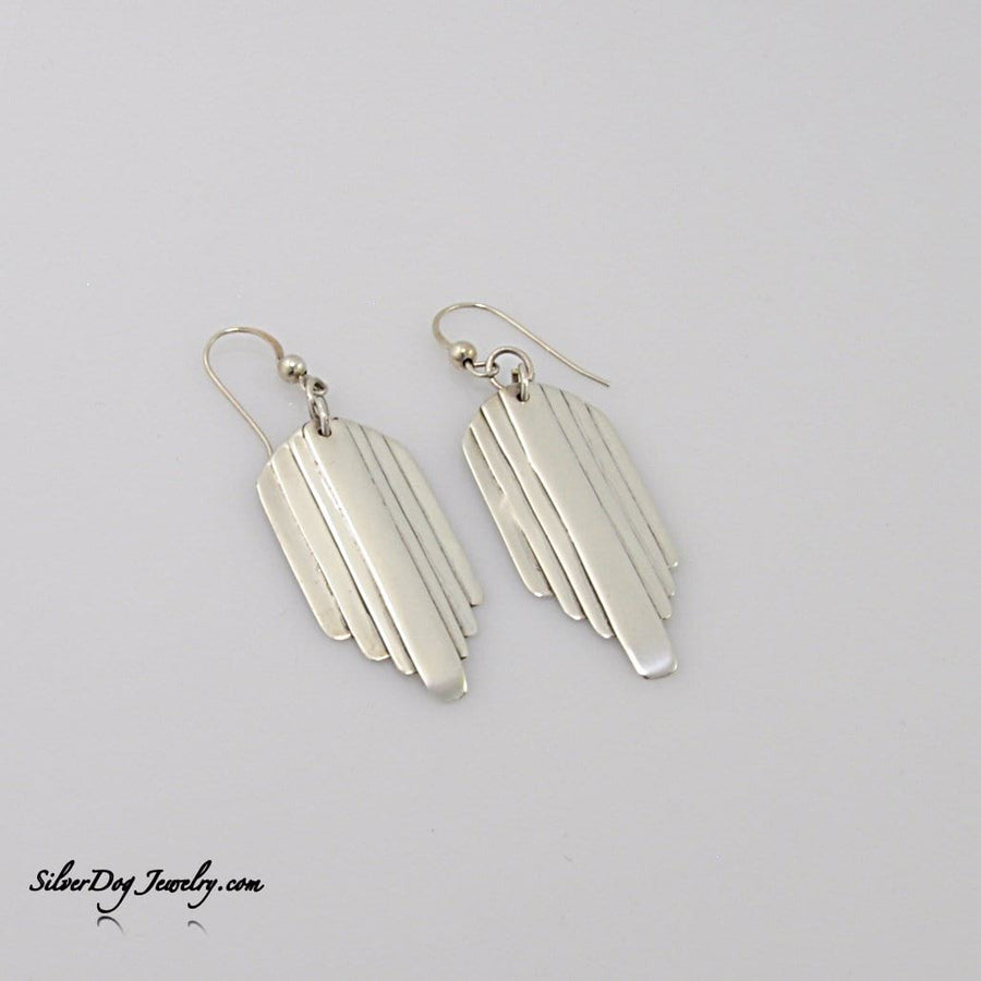 Sterling silver layered art deco earrings with sterling beaded ear wires