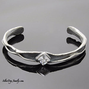 Sterling Silver metal clay free form cuff bracelet princess cut cubic zirconia