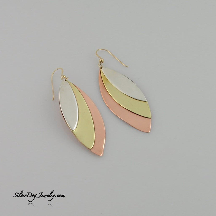 Sterling, brass, copper pointed ellipse earring with gold-filled beaded ear wire at silverdogjewelry.com