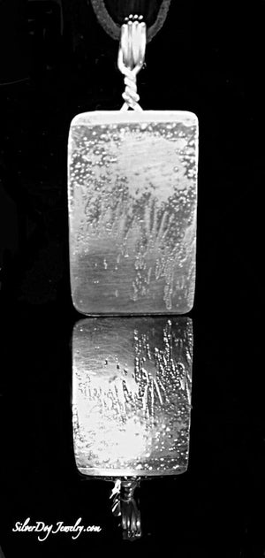 Etched sterling silver pendant, silhouettes of grass