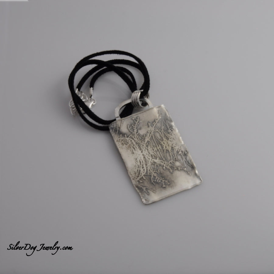 Etched sterling silver pendant, landscape reflection with freeform edges at silverdogjewelry.com