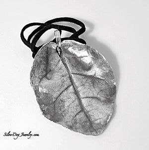 Sea Grape leaf pendant of fine silver metal clay at silverdogjewelry.com
