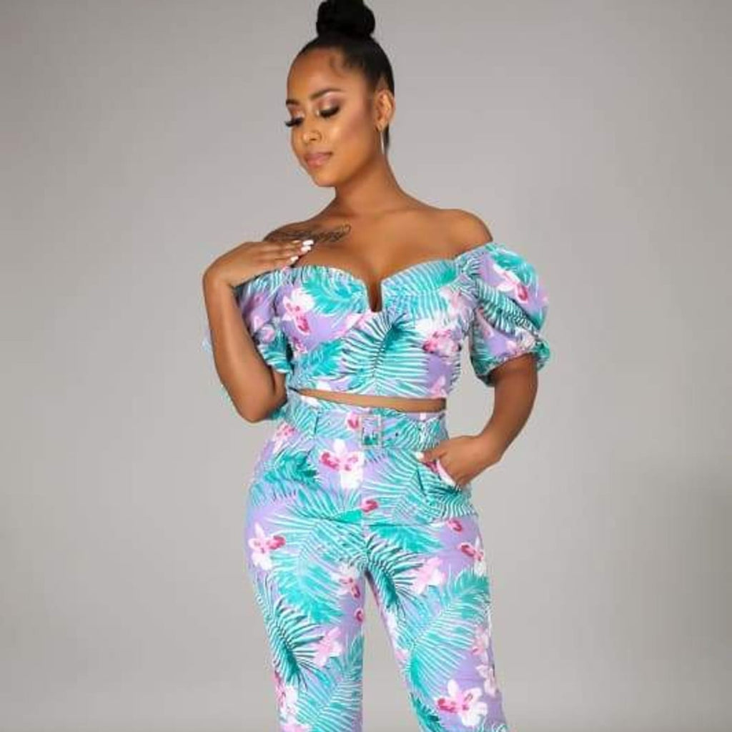 Tropical Chic Pants Set Tag a...