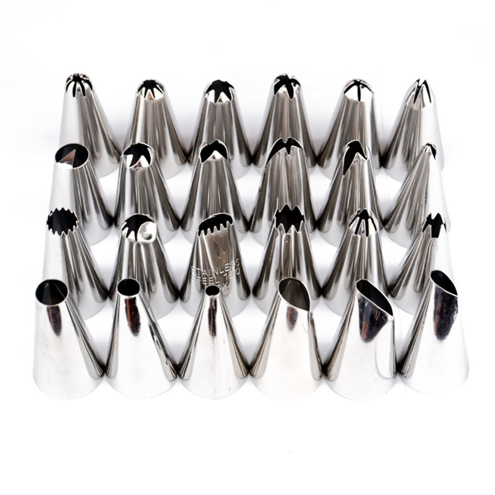 24 Piece stainless steel piping tip set - Cake Magician