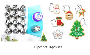 Christmas Style Nozzle Pastry Kit + Cookie Cutters - Cake Magician