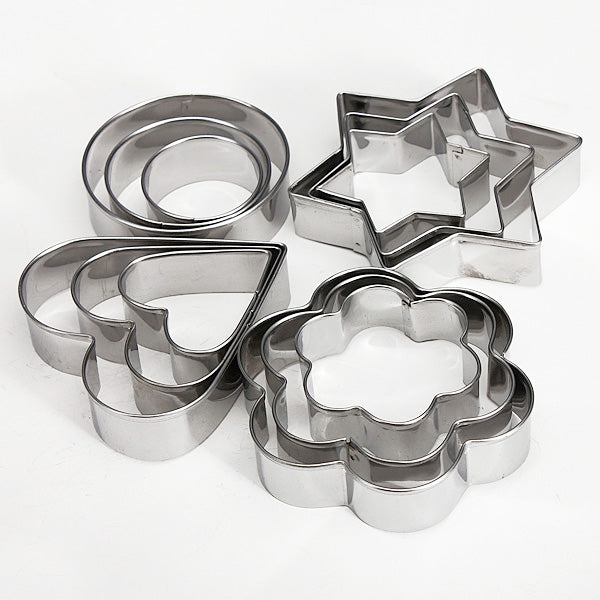 12 Pcs Stainless Steel Cookie Cutters - Cake Magician