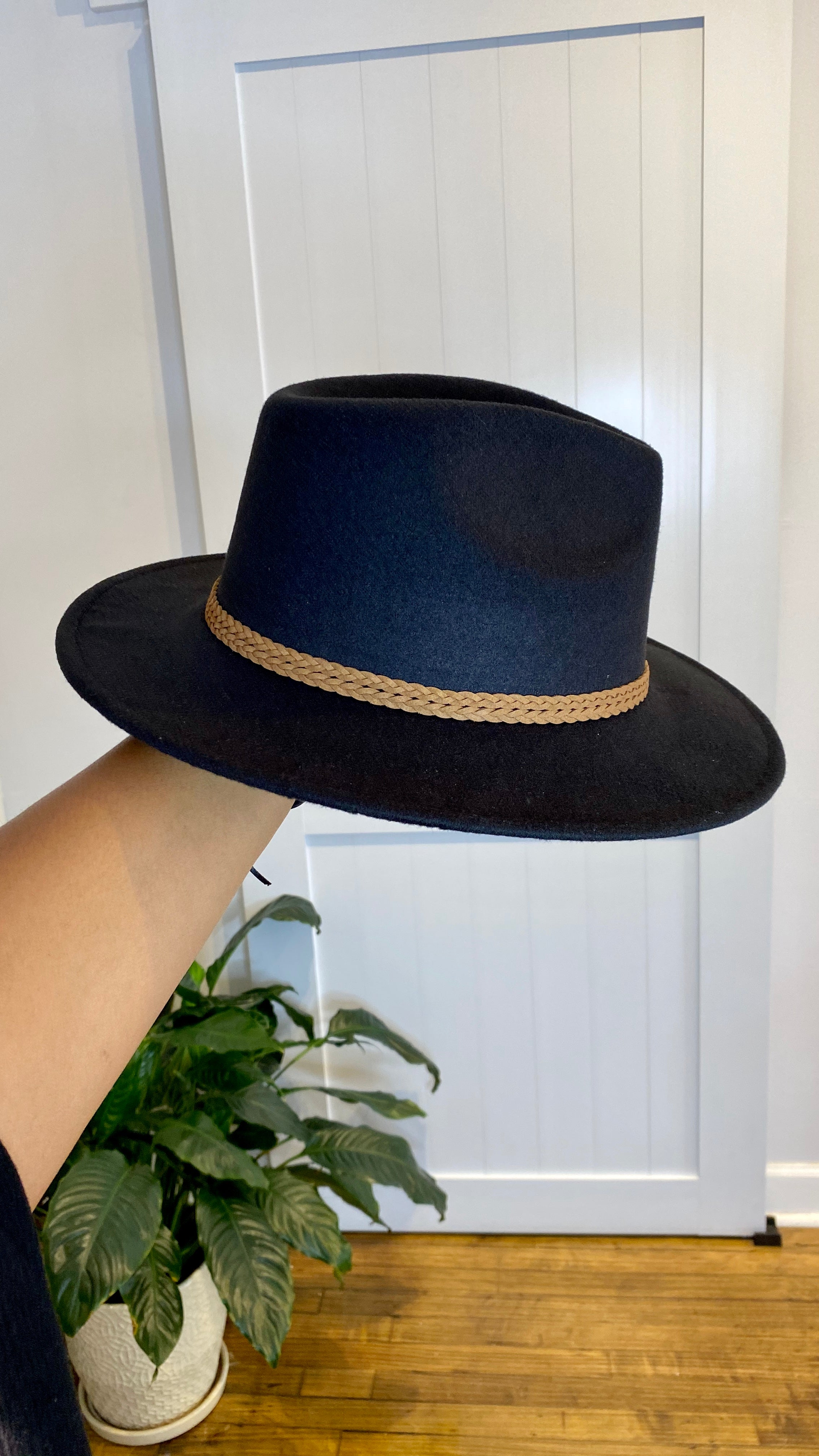 Leather Band Felt Hat