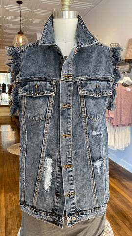 Distressed Denim Shirt Jacket