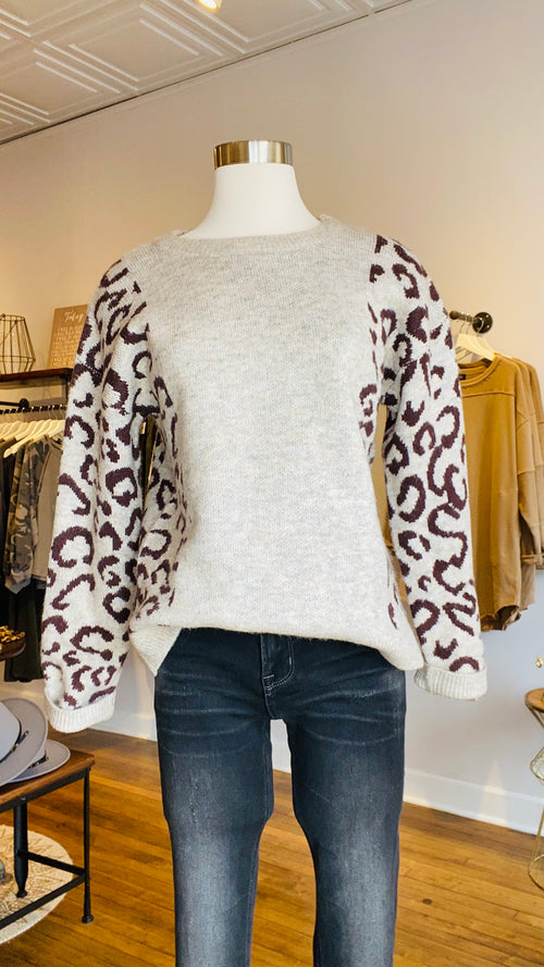 Leopard Sleeve Pullover Sweater