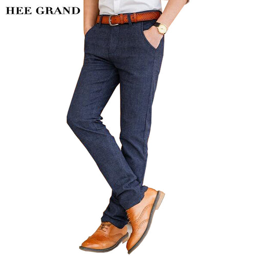 HEE GRAND Men Casual Style Pants Full Length Mid-waist Straight Slim Fitted Cotton Material Trousers Size 28-38 MKX1136