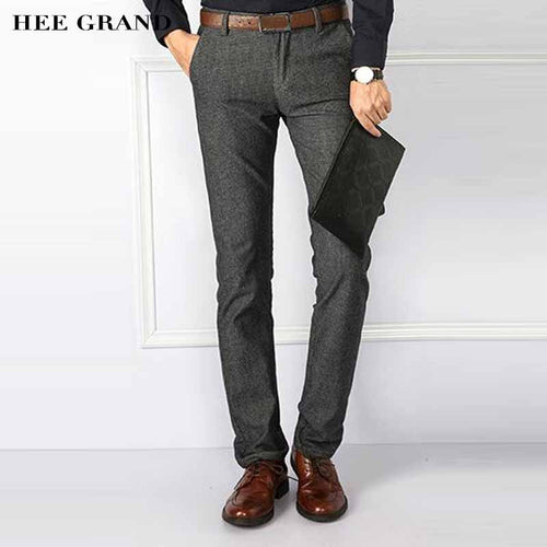 HEE GRAND Men Casual Style Pants Mid-waist Cotton High Quality 2017 New Arrival Slim Fitted Autumn Trousers Size 28-40 MKX1080