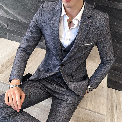 3 Pcs 2016 Fashion Top Men's Suits Set (Blazer + Vest + Pants ) High Quality Party Dress Suit Wedding Groom Grey Clothing Set