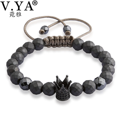 V YA Crown Bracelets for Men Women Luxury Jewelry Fashion Men's Watch Bracelet Natural Stone Bead Lace up Bangle