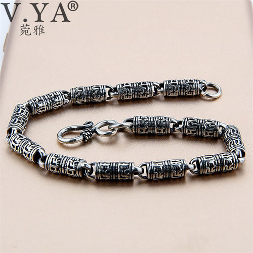 Black Thai Silver Devanagari Bracelet Men's Six Words Mantra Bracelet Lucky Security Bracelet 925 Sterling Silver Jewelry
