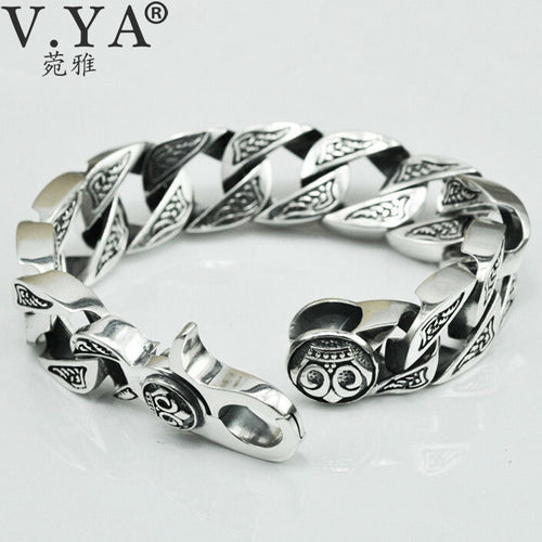 V.YA Pure Handmade Men Jewelry 100% 925 sterling Silver Bracelet Black Retro Heavy Men Jewelry 100g Skeleton Man Bracelets