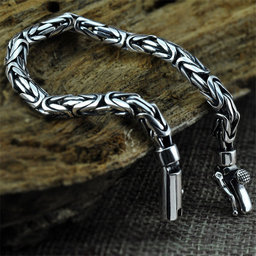 V.YA Genuine 100% Real Pure 925 Sterling Silver Men Bracelet Fashion Punk Style Thai Silver Bangle Bracelets Men Jewelry
