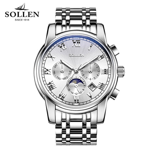 SOLLEN genuine quality automatic mechanical watch male clock waterproof fashion steel luminous multi-functional men's watches