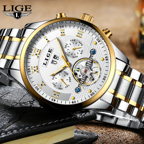2017 Top Luxury Brand LIGE Mens Watches Men Fashion Business Automatic Watch Man Full Steel Waterproof Clock Relogio Masculino