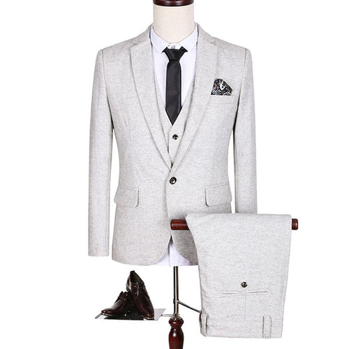 (Jacket+Pant+Vest) High Quality Suits Men New Luxury Fashion Brand Formal Blazer Slim Fit Costume Homme Wedding Dress 5XL S151