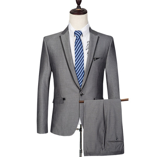 (Jacket + Pant) Men's Suits Wool Formal Casual Slim Fit Luxury Wedding Suits For Men Sliver Grey Costume Homme Clothing E550